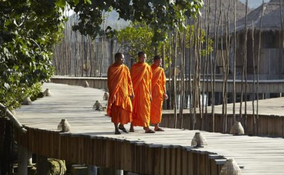 local monks at Song Saa on their way to perform a wedding blessing_1489