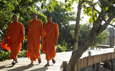local monks at Song Saa on their way to perform a wedding blessing_1506