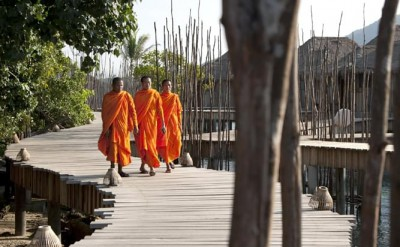 local monks at Song Saa on their way to perform and wedding blessing_MG_2107