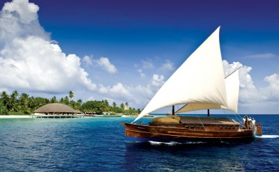 Sailing Dhoni. Maldives resort Huvafen Fushi, Maldives is managed by luxury brand Per Aquum Resorts and Spas - featuring world-first Underwater Spa.